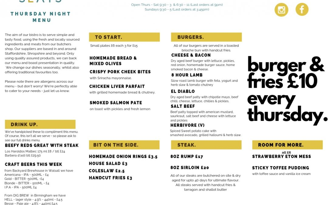 Sample Thursday Night Burger Menu